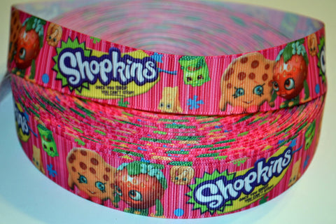 "Shopkins Inspired 3 yards 1"" Gross Grain Ribbon for Hair Bows Crafts Scrapbook"