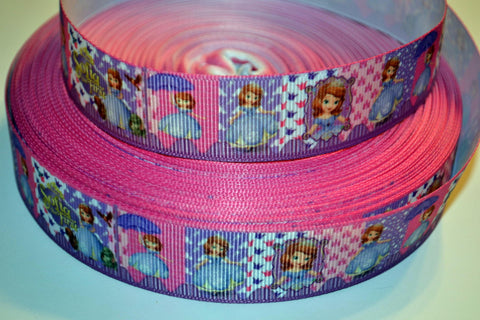"Sofia the First Inspired 3 yards 1"" Gross Grain Ribbon for Hair Bows Crafts Scrapbook"