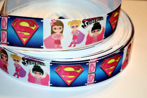 "Super Girl Inspired 3 yards 1"" Gross Grain Ribbon for Hair Bows Crafts Scrapbook"