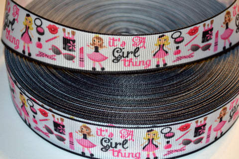 "It's A Girl Thing Inspired 3 yards 1"" Gross Grain Ribbon for Hair Bows Crafts Scrapbook"