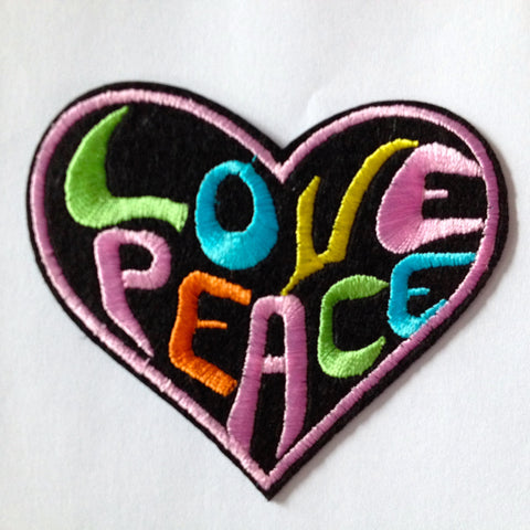 Groovy Love Peace Patch - Heart Shaped Love Peace Embroidered Iron on Hippie Patch Applique