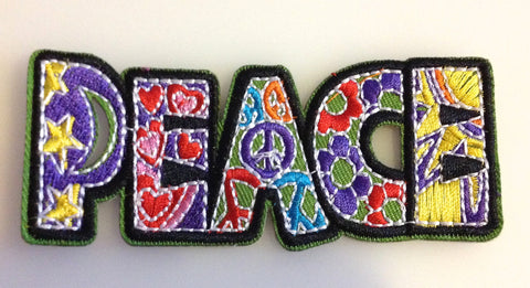 Groovy Peace Patch Rectangle Shaped Love Peace Embroidered Iron on Hippie Patch Applique