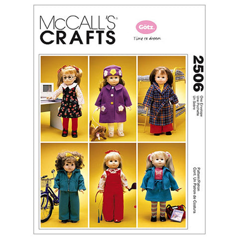McCall's 2506 Sewing Patterns 18-Inch Doll Clothes and Dog, One Size Only