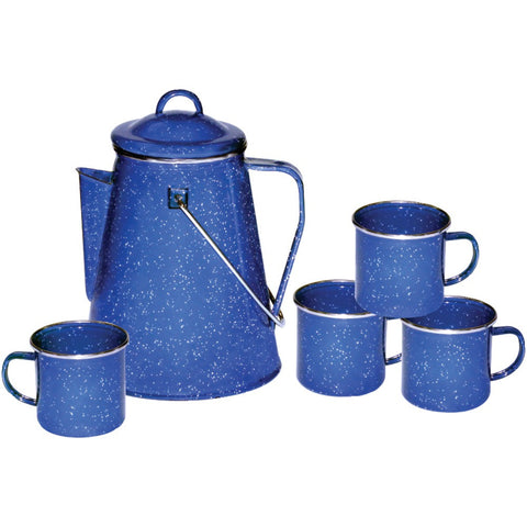 Stansport Enamel 8 cup Camping Coffee Pot With Percolator & 4 Twelve-ounce Mugs