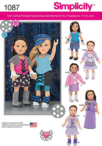 Simplicity 1087 Sewing Patterns 18-Inch Doll Clothes Rock on Hip Hop Fashions