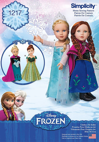 Simplicity 1217 Disney Frozen Sewing Patterns 18-Inch Doll Clothes One Size Only
