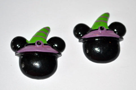 Black Mouse Ears Green Witch Hat Resin Cabochons Flat Back Scrapbooking and Craft Supplies