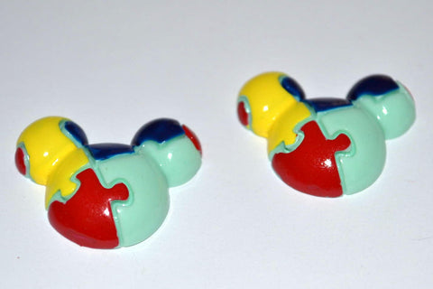 Autism Awareness Mouse Ears Puzzle Resin Cabochons Flat Back Scrapbooking and Craft Supplies