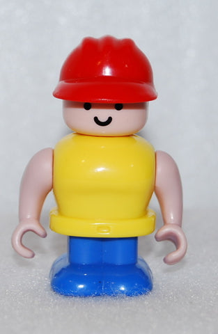 LEGO CONSTRUCTION WORKER FIGURE RED HAT HEAD TURNS
