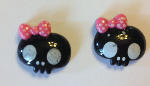 Black Monster Skull Inspired Pink Polka Dot Bow Resin Flat Back Cabochon Scrapbooking Hair Bow Center Embellishments