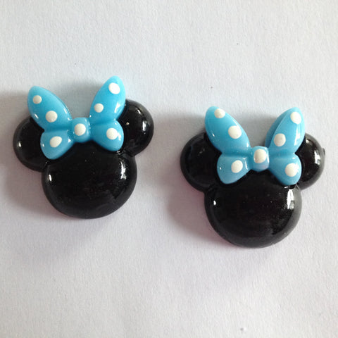 Black Mouse Ears Blue Bow White Polka Dots Resin Cabochons Flat Back Scrapbooking and Craft Supplies