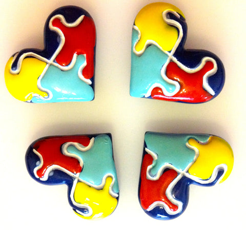 Autism Puzzle Heart Shaped Awareness Resin Cabochons Flat Back Scrapbooking and Craft Supplies