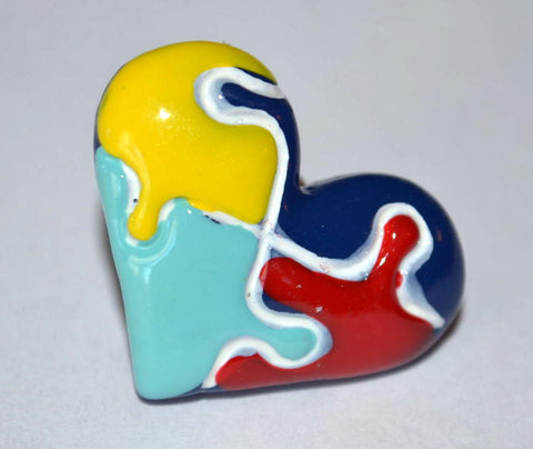 Autism Awareness Heart Shaped Puzzel Pin Resin Top Hat Cabochon Tie or Coat Pin