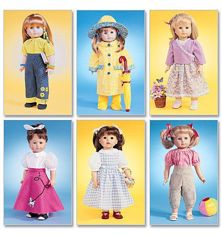 McCall's 4066 Sewing Patterns 18-Inch Doll Clothes, One Size Only