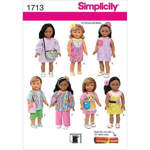 Simplicity 1713 Sewing Patterns 18-Inch Doll Clothes Scrubs