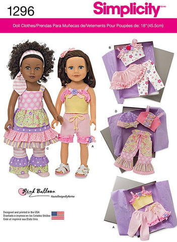 Simplicity 1296 Sewing Patterns 18-Inch Doll Clothes One Size Only