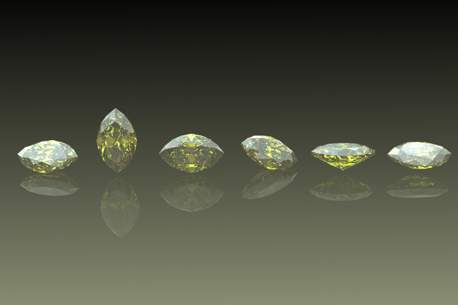 faceted peridot crystals
