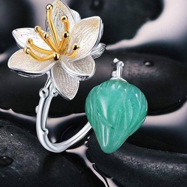 Lotus Fun Official Store Rings Resizable / Green Buds of Abundance