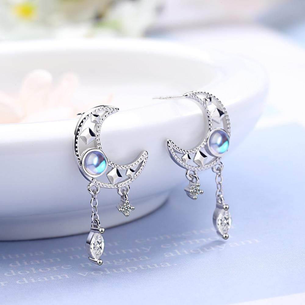 Lunar Allure - Moonstone Drop Earrings Drop Earrings