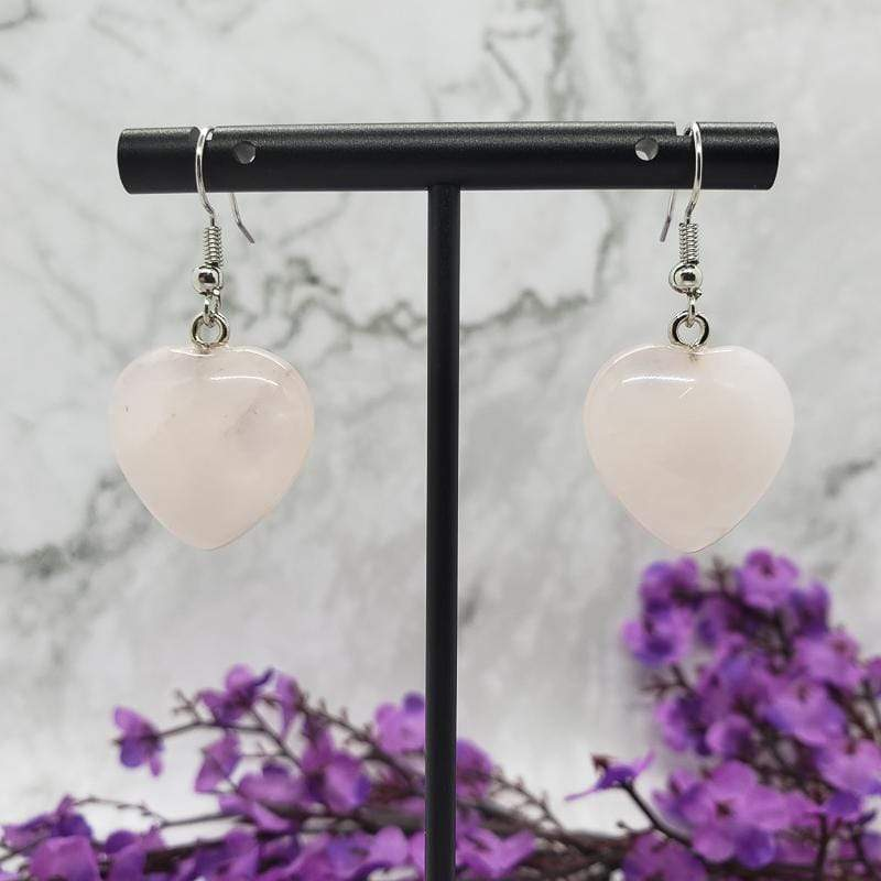 Rose Quartz Heart Drop Earrings Drop Earrings