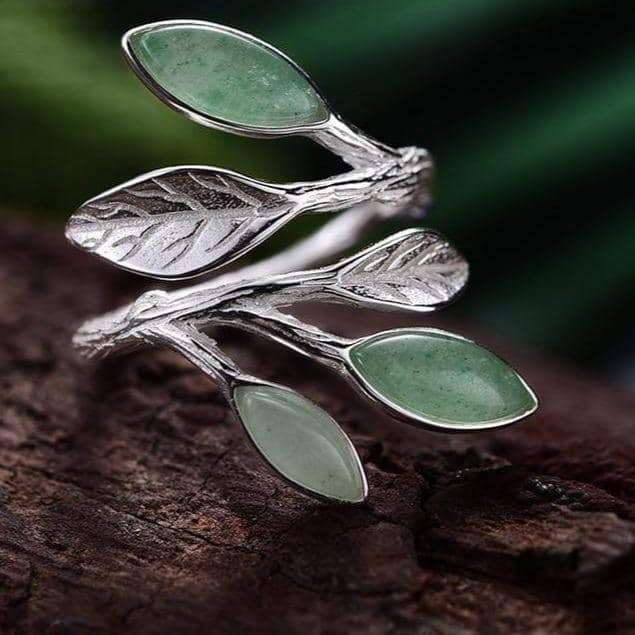 Lotus Fun Official Store Rings Resizable / Green Fortune Leaves