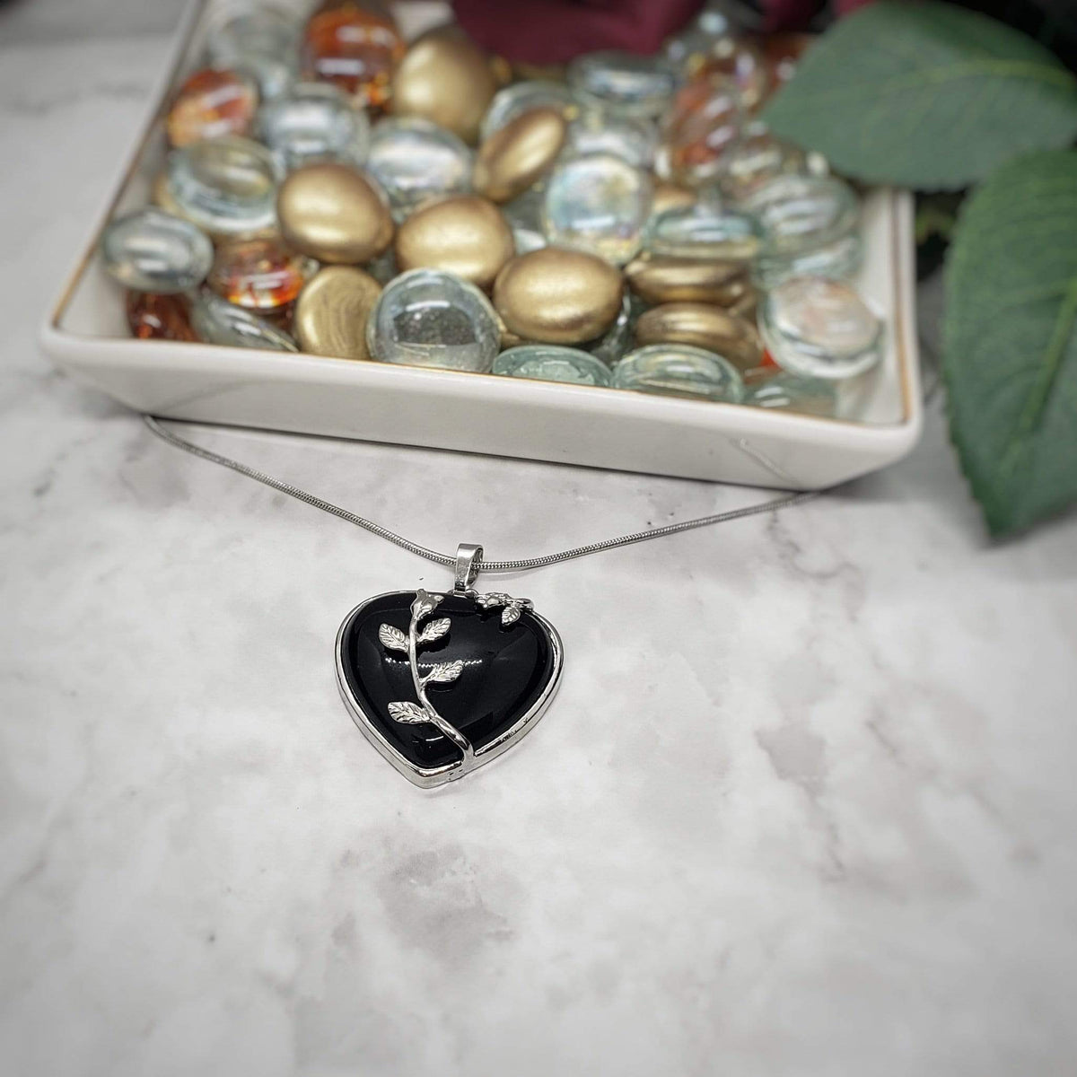 Obsidian Blooming Heart Pendant Necklace