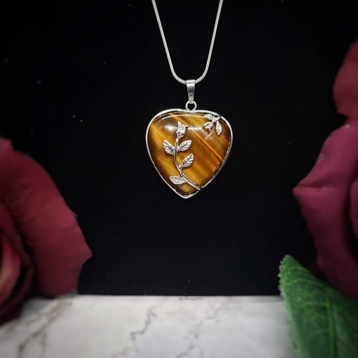 Tiger's Eye Blooming Heart Pendant necklace