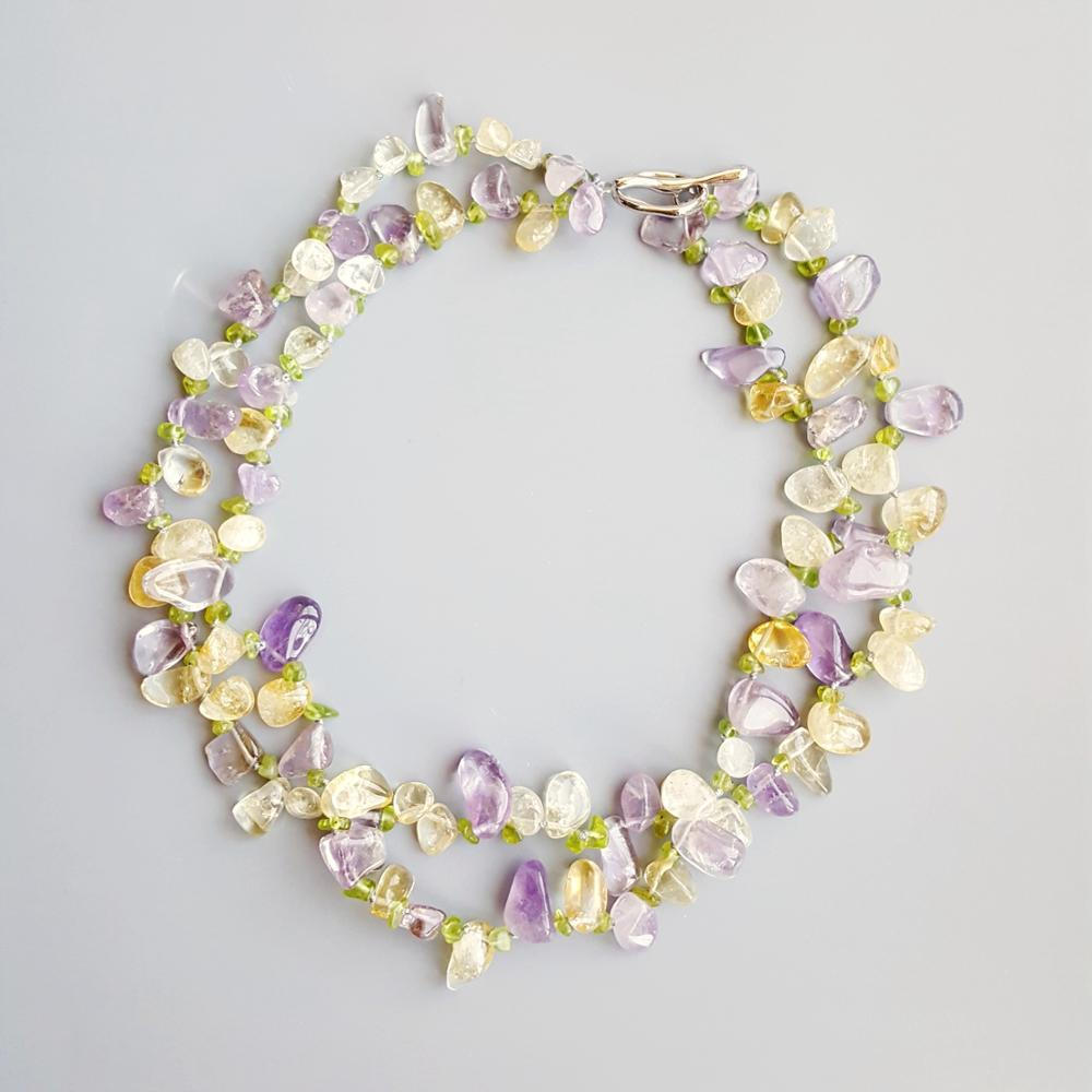 Prosperity Blossoms - Citrine, Amethyst, and Peridot Necklace Necklaces