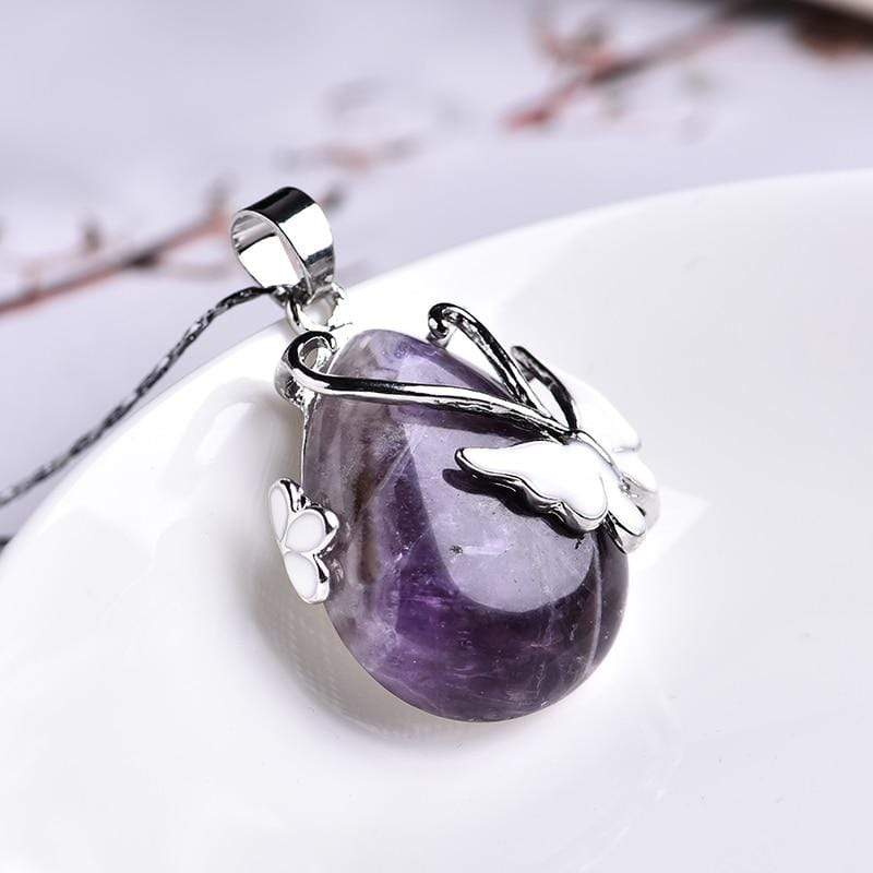 Amethyst Butterfly Necklace Stones