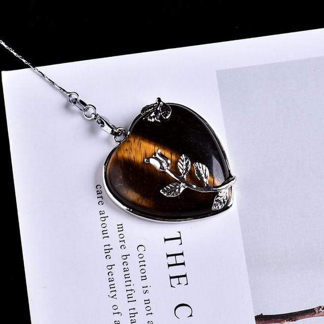 Tiger's Eye Blooming Heart Pendant Stones