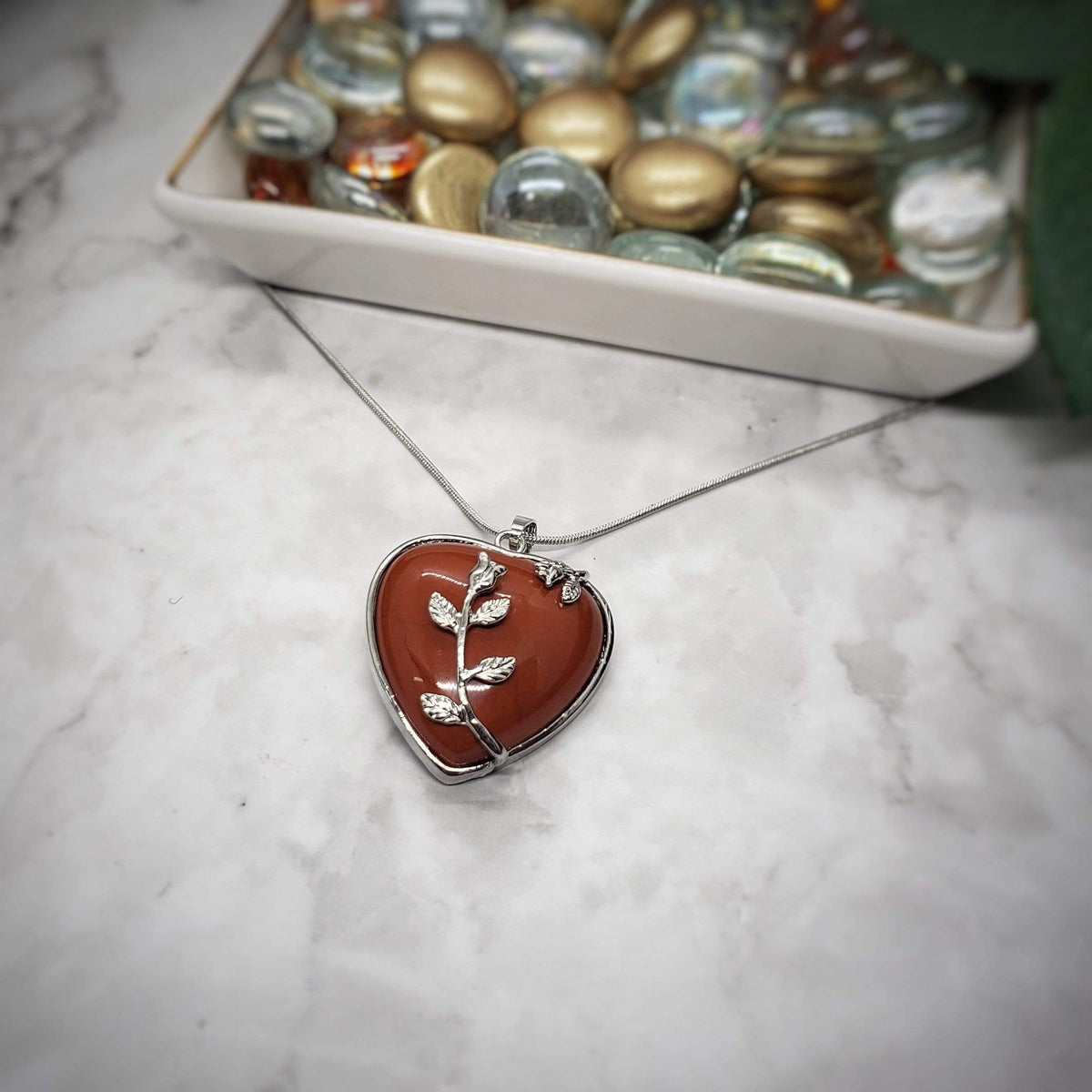 Red Jasper Blooming Heart Pendant Stones
