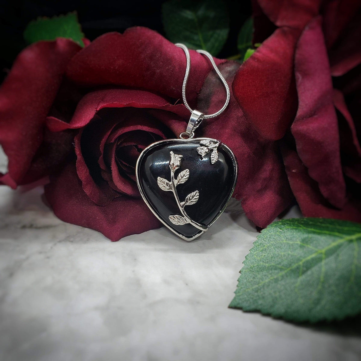 Obsidian Blooming Heart Pendant Stones