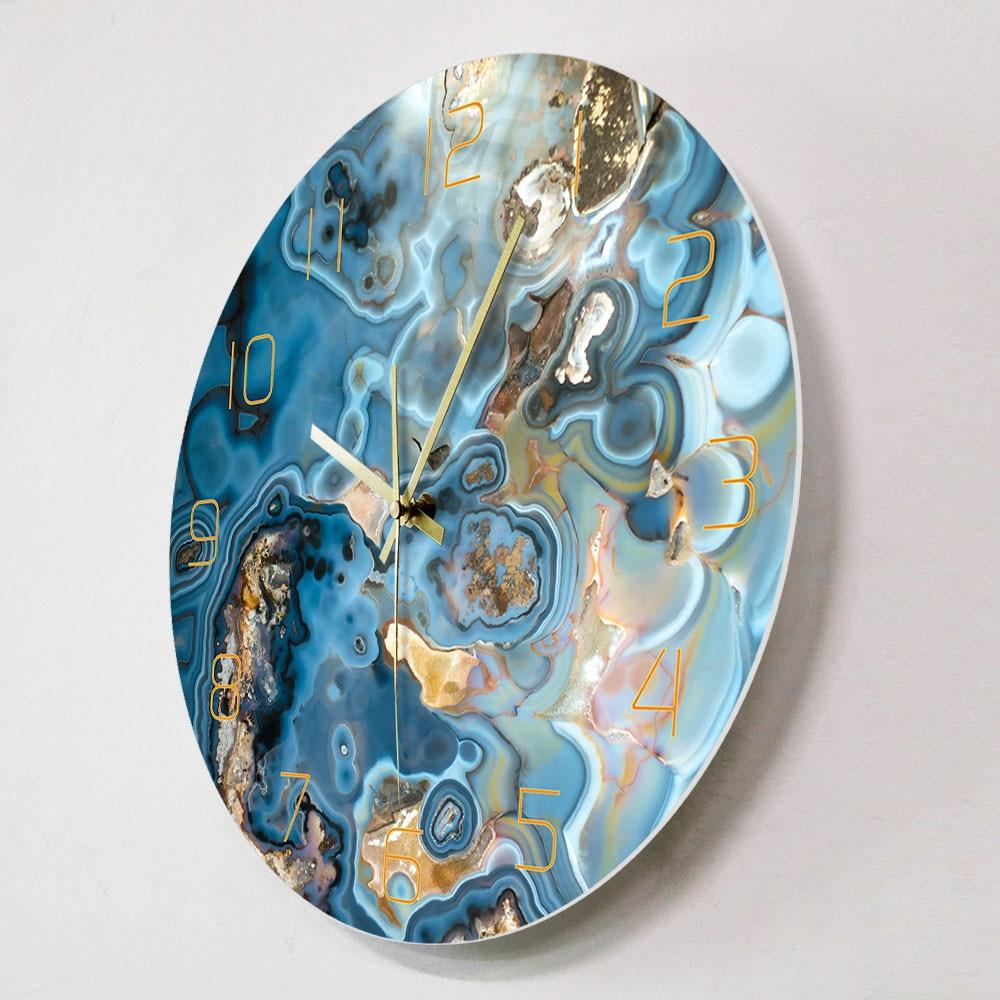 Abstract Blue Waves Wall Clock