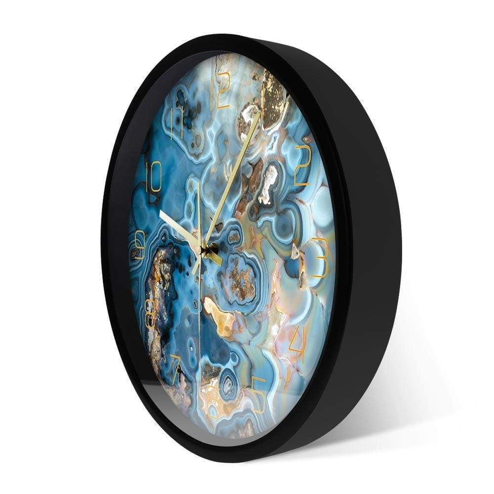Gilded Waves of Tranquility Wall Clocks