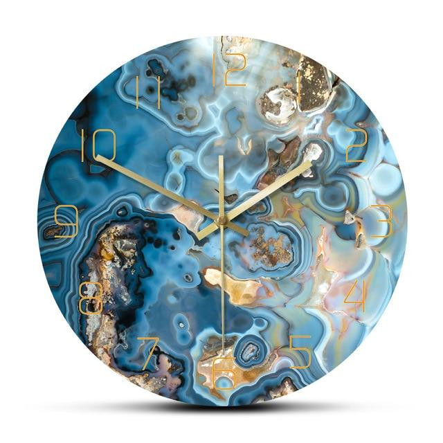 Frameless Blue Ocean Wave Wall Clock
