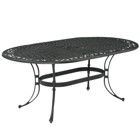 Biscayne Oval Outdoor Dining Table in Rust Brown