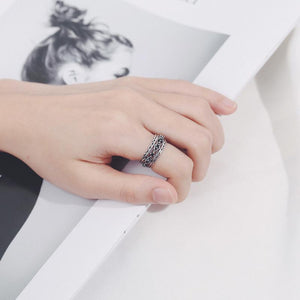 Black Agate Black Plated Open Ring