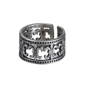 Vintage openwork cross flower ring
