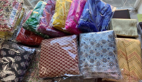 Various hand printed fabric from India.