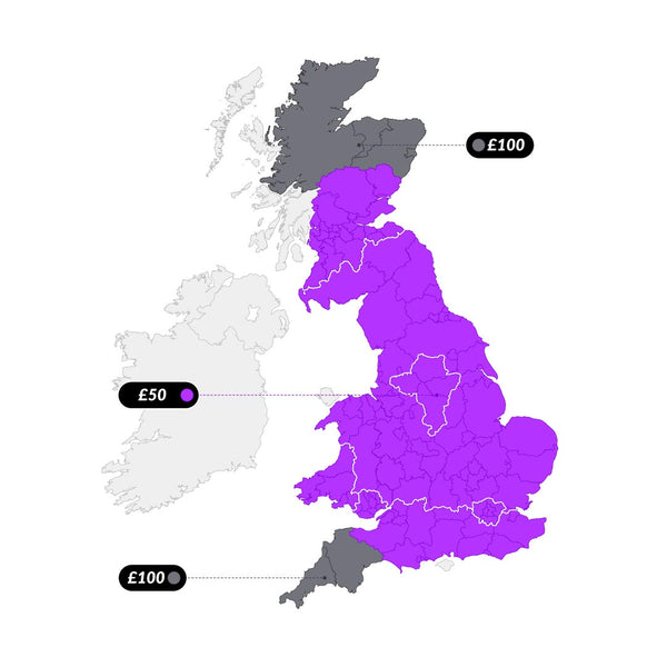Sofas & Beds Delivery map with rates