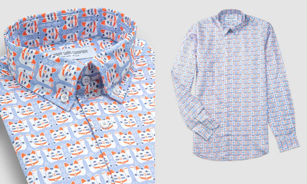 Bombay Shirt Company Blue Lucky Cat Shirt Product Images
