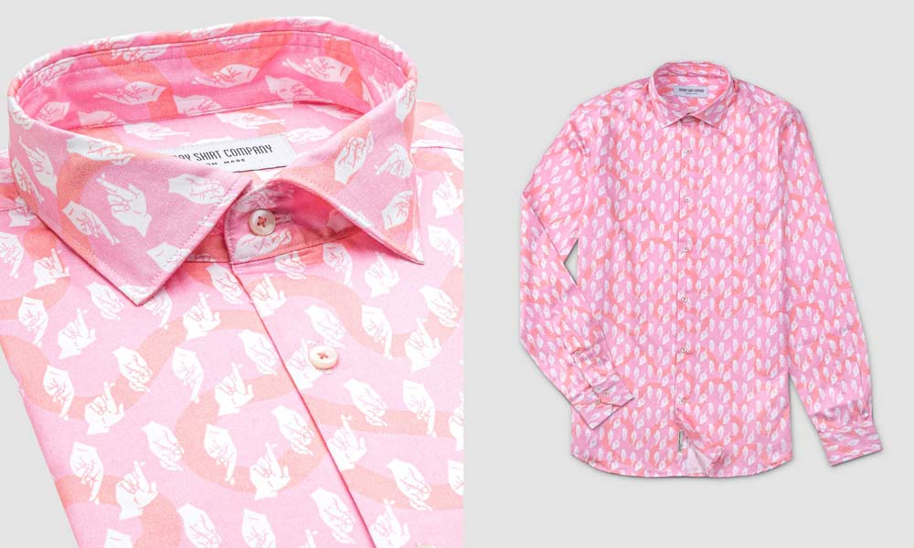Bombay Shirt Company Pink Fingers Crossed Shirt Product Detail