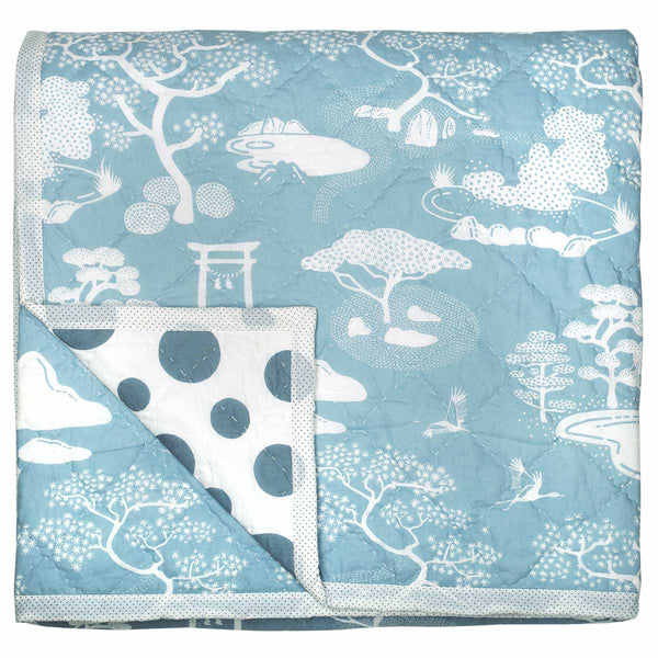 Dusty Blue Zen Onsen Garden Quilt