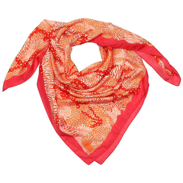 Orange Big Cat Camo Silk Scarf