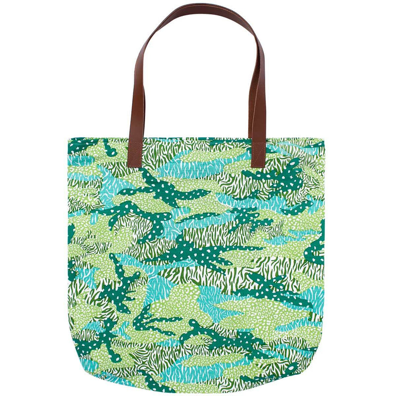 Green Big Cat Camo Simple Zip Tote Bag