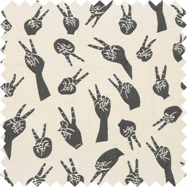 Grey Peace Hands Fabric