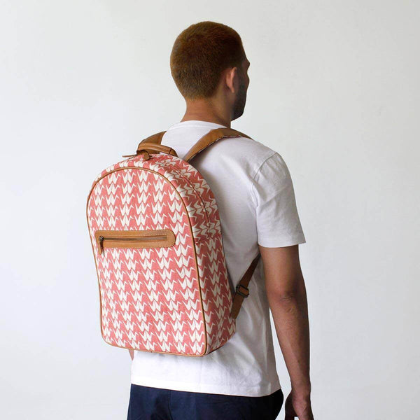 Coral Crane Woven Backpack