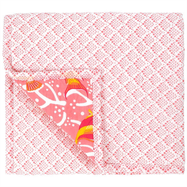 Pink Coral Reef Baby Quilt
