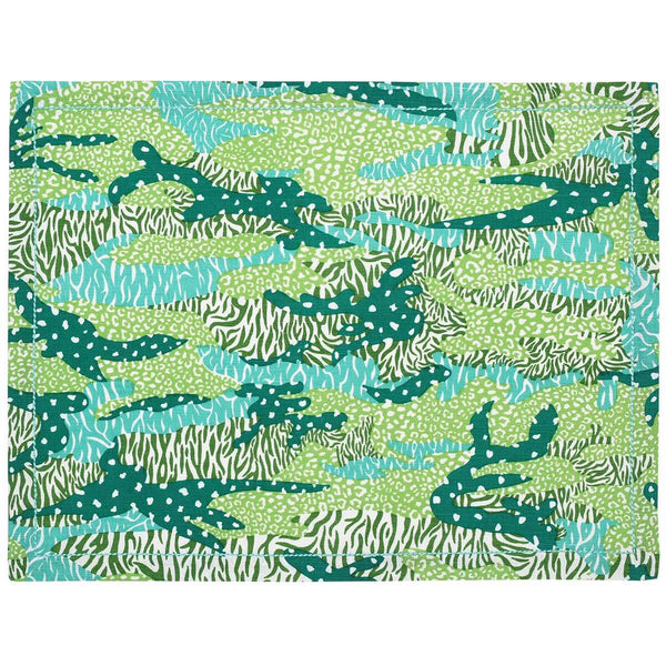 Green Big Cat Camo Placemats - Set of 2