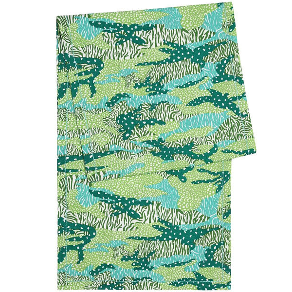 Green Big Cat Camo Table Runner